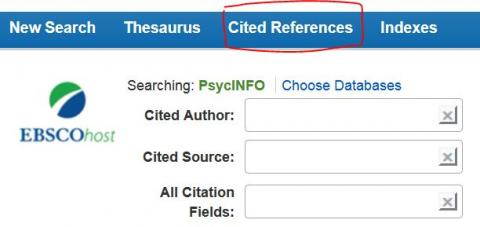 Screenshot of the header of PsycINFO, with the link Cited References circled