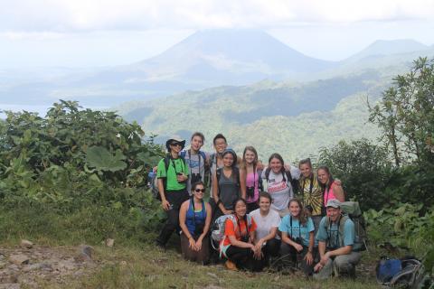 Students from BIOL-454 on hillside in Costa Rica, Interterm 2014