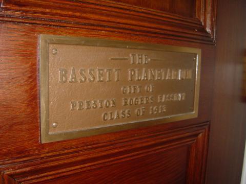 Bassett Planetarium plaque