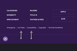 Arrows indicating links to accessibility information on the Amherst College website
