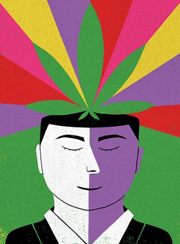 An illustration of a marijuana leaf coming out of the top of a man's head