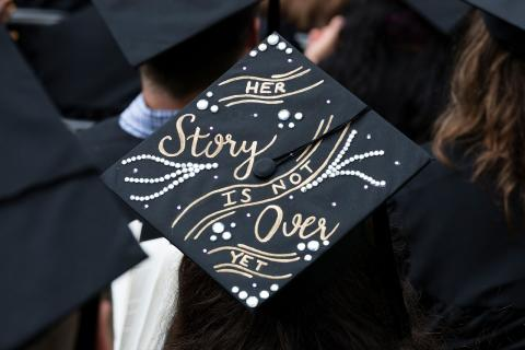 One of many decorated commencement caps