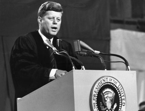 JFK speaking at Amherst College on October 26, 1963