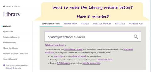 screenshot of library website with text asking if you want to help improve the site