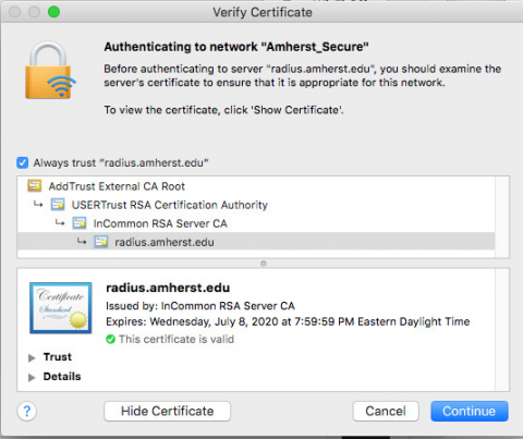 Radius cert as it appears in Mac OS X