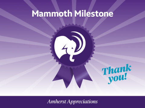 Mammoth Milestone. Purple medal with ribbon and the Amherst Mammoth head logo in a circle on the medal.