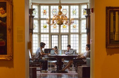 Students studying in the Rotherwas Room