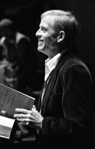 James Merrill giving a poetry reading at Amherst College, June 4, 1988