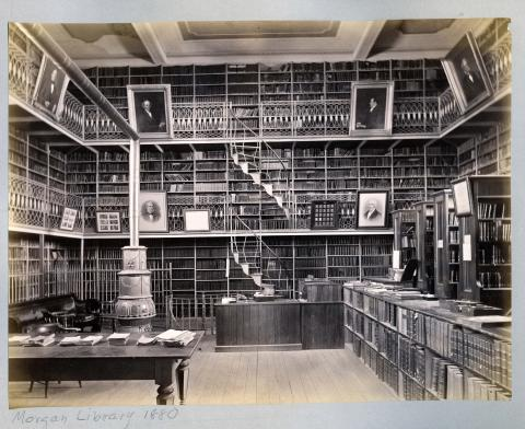 Morgan Library interior in 1880