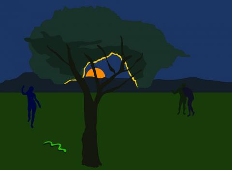 Illustration of silhouetted tree and three human figures against dark blue and green backdrop
