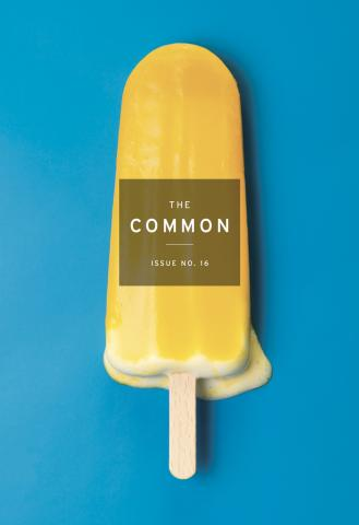 Cover of The Common with bright blue background, bright yellow melting popsicle and The Common logo