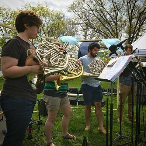Brass band performing outside