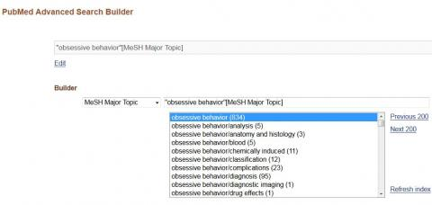 List of MESH terms in PubMed Advanced Search, with obsessive behavior highlighted