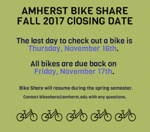 All Bikes are due back November 17th. See you in the spring!