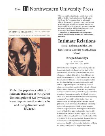 "Flyer for new book ""Intimate Relations"" by Krupa Shandilya"