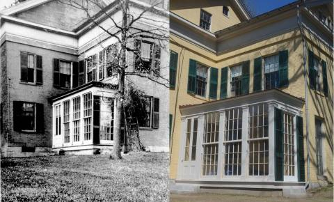 The Homestead's conservatory, then and now.