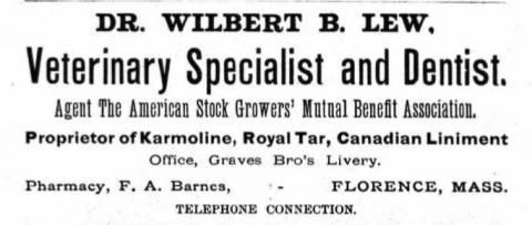 newspaper ad for Doctor Wilbert Lew, veterinary specialist and dentist