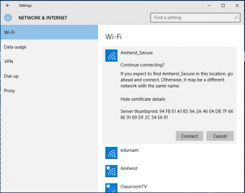 Radius cert as it appears in Windows 10