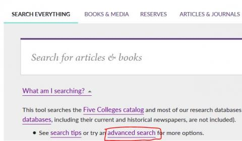 "screenshot of library homepage, with advanced search link in ""what am I searching?"" text highlighted"