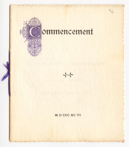 Cover of 1896 Commencement program