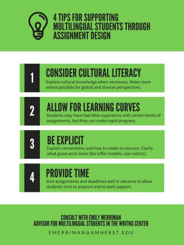 black text in green boxes - assignment design multilingual students (see PDF for full text)