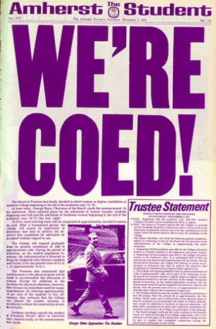 Newspaper cover with giant headline, We're Coed!
