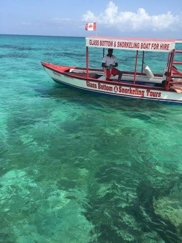 A beautiful glass bottom boat sitting on clear green water