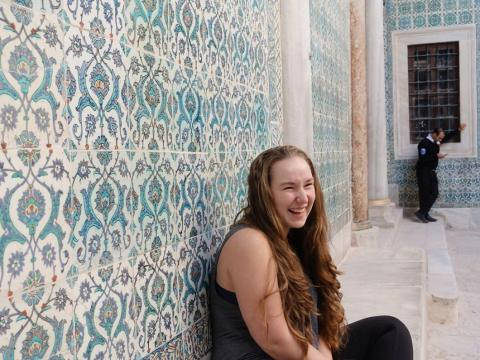 Laughing Against an Istanbul Wall