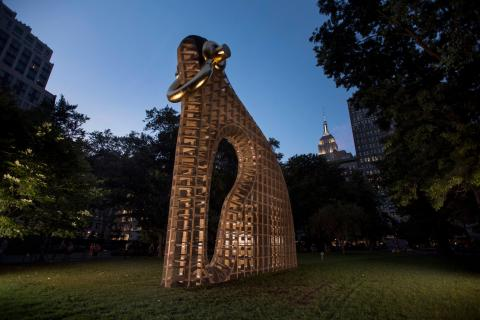"Martin Puryear's ""Big Bling,"" a 40-foot-tall sculpture looming over Madison Square Park in 2016."