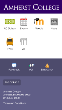 Amherst College Campus App Homescreen