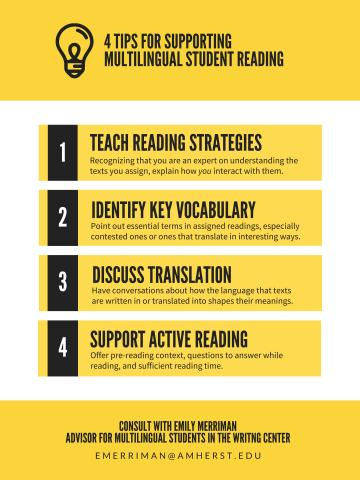 black text in yellow boxes - supporting multilingual students' reading (see PDF for full text)
