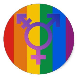 Transgender symbol on rainbow circle
