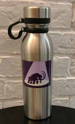 Steel water bottle emblazoned with a mammoth in a spotlight