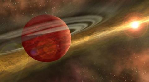 Artist's impression of a young gas giant planet still swathed in traces of a late-stage protoplanetary disk