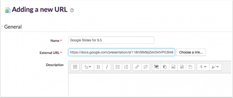 moodle add name and url