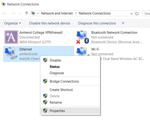 screenshot of Ethernet adapter right-click menu