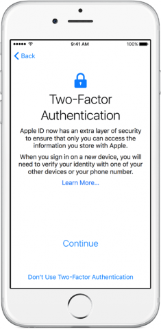 Screen image of Two Factor Authentication Setup in iOS