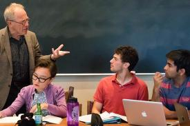 Thomas Laqueur speaking with Amherst College students.