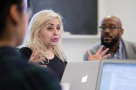 "Actress and playwright Penny Arcade speaking to students in Khary Polk's ""Queer Theory and Practice"" seminar"