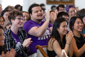 First year students at Amherst College listening to Min Jin Lee delivering this year's DeMott Lecture.
