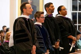 Faculty being awarded honorary degrees during convocation