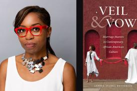 Aneeka Henderson and the cover of her book Veil and Vow