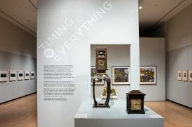 """Installation view of """"Timing is Everything"""" exhibit at the Mead Art Museum"""