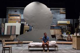 "enor William Hite, center, stars as the opera's protagonist, Newton Arvin in ""The Scarlett Professor"""