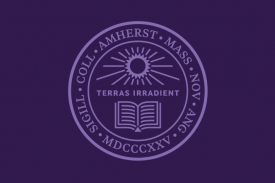 Amherst College seal, with a sunburst over an open book and the words Terras Irradient