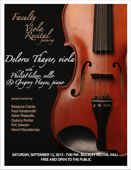 Thayer Viola Recital Poster Showing The Body Of A Violin Against Black Background