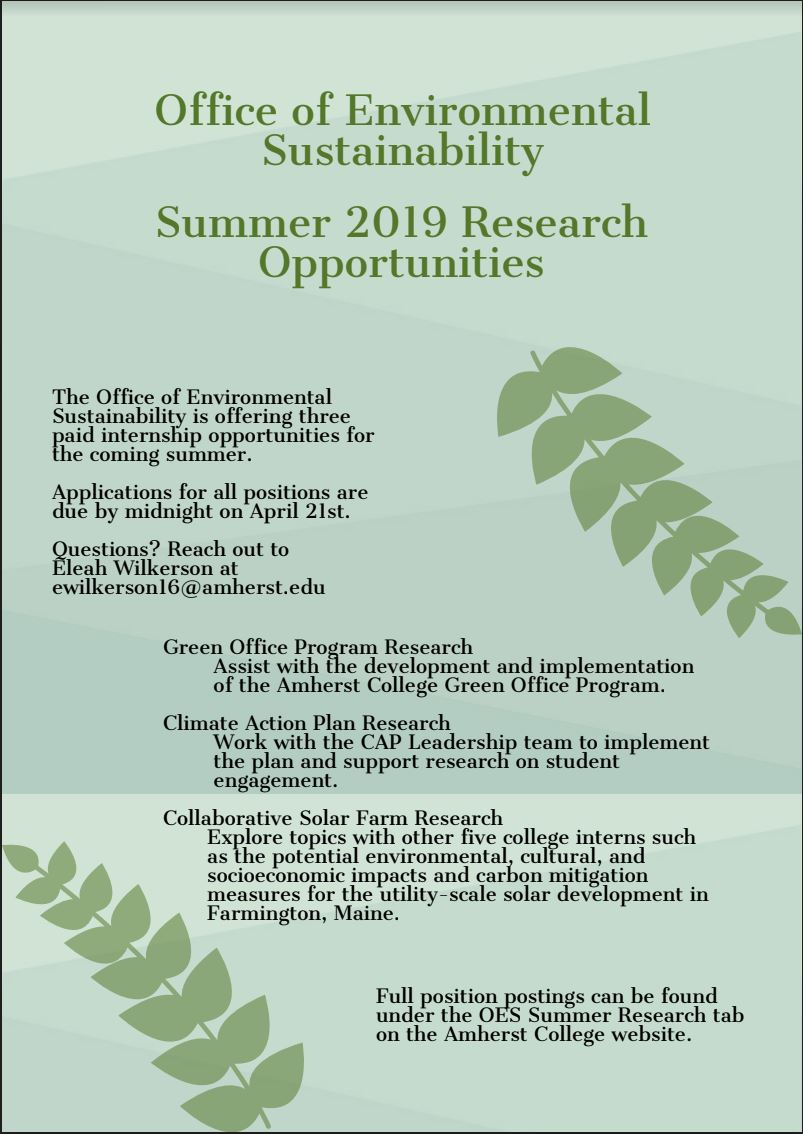What You Can Do   OES Summer Research   Amherst College
