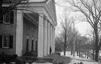 Small.College Hall portico winter 1940