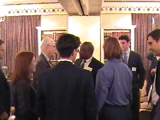 The surprise and pleasure of his company: Clarence Thomas with Pam Burkhardt, Steve Pflaum, Ted Hertzberg, Windy Booher, Bill Ad