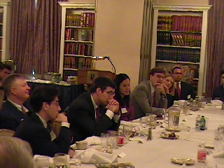 Leaning in, during the discussion with Lynne Cheney. Seated from left to right: Ted Hertzberg '04, Tom Loftus '68, Bill Adkinson